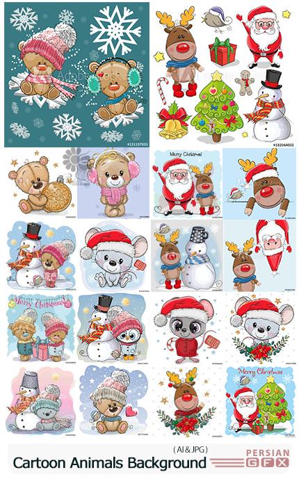 دانلود وکتور بک گراند های زمستانی با طرح های کارتونی حیوانات و کریسمس - Cartoon Animals On Winter And Snowman Background
