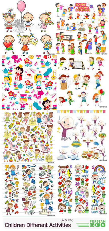 دانلود وکتور کارتونی کودکان در حال فعالیت های مختلف - Children Doing Different Activities