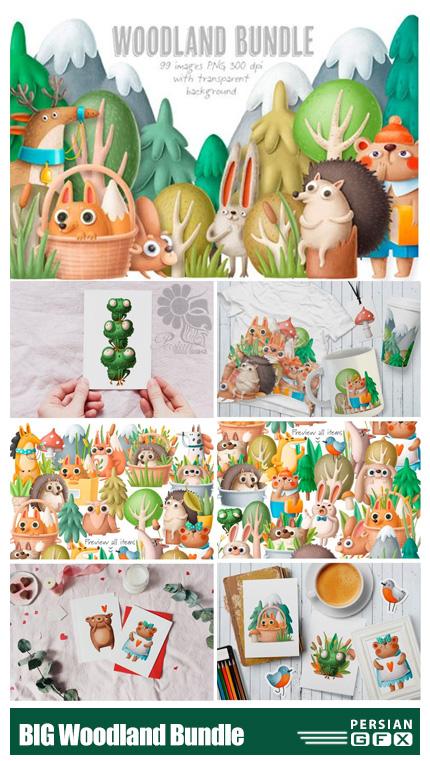 دانلود کلیپ آرت المان های کارتونی چوبی برای طراحی - BIG Woodland Bundle