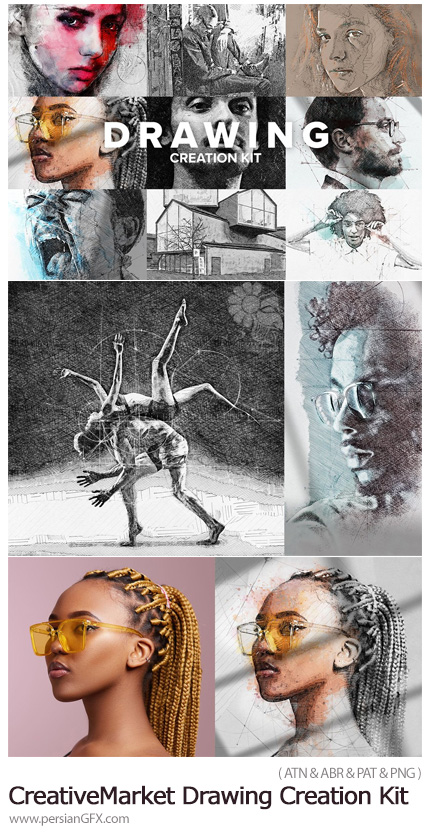 دانلود اکشن فتوشاپ تبدیل تصاویر به نقاشی حرفه ای - CreativeMarket Drawing Creation Kit