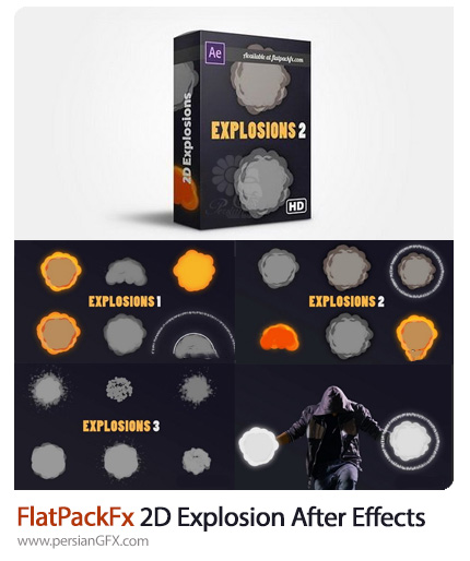 دانلود پک افکت های کارتونی انفجار دوبعدی برای افترافکت - FlatPackFx 2D Explosion Pack After Effects
