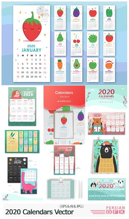 دانلود 10 وکتور تقویم رومیزی و دیواری 2020 - 2020 Calendars Vector Collection