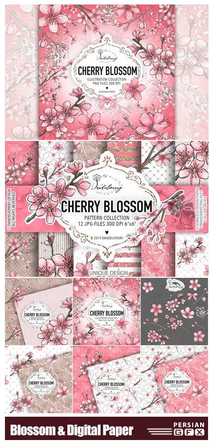دانلود کلیپ آرت عناصر طراحی شکوفه های بهاری - Cherry Blossom Design And Digital Paper Pack