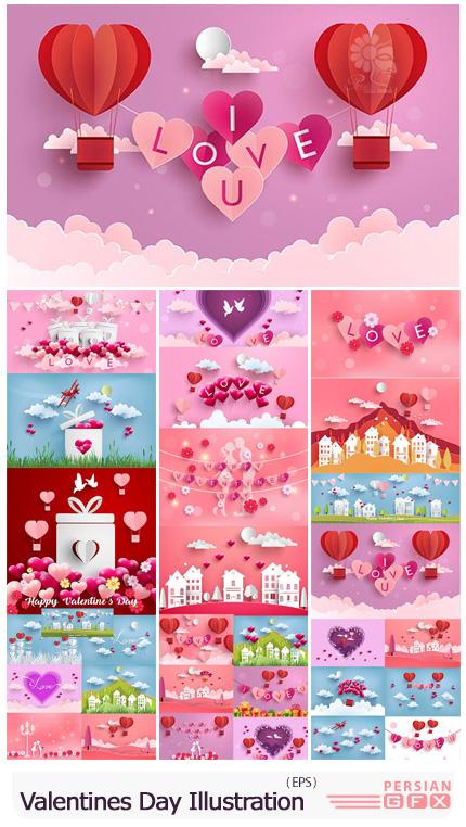 دانلود تصاویر سه بعدی و کاعذ برش خورده عاشقانه برای ولنتاین - Happy Valentines Day Illustration Vector Set