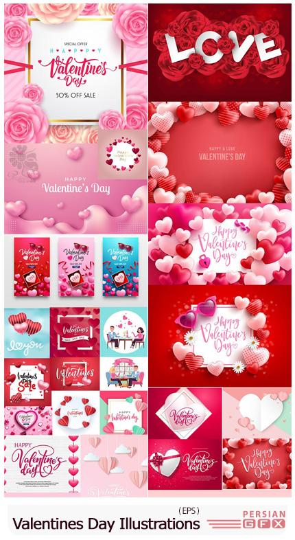دانلود مجموعه وکتور طرح های فانتزی با قلب برای ولنتاین - Vector Set Of Romantic Valentines Day Illustrations