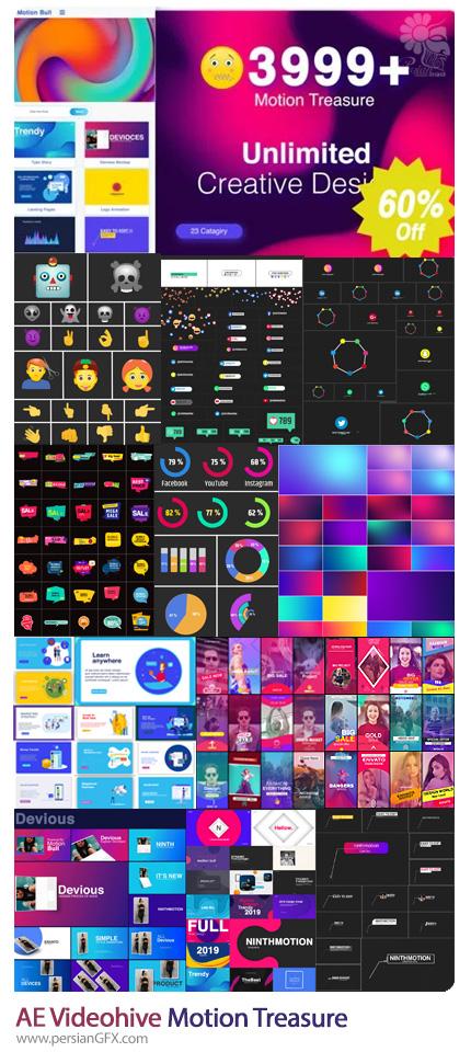 دانلود پک ساخت موشن گرافیک در افترافکت شامل ترانزیشن، تایتل، ایموجی، بک گراند و ... به همراه آموزش ویدئویی - Videohive Motion Treasure