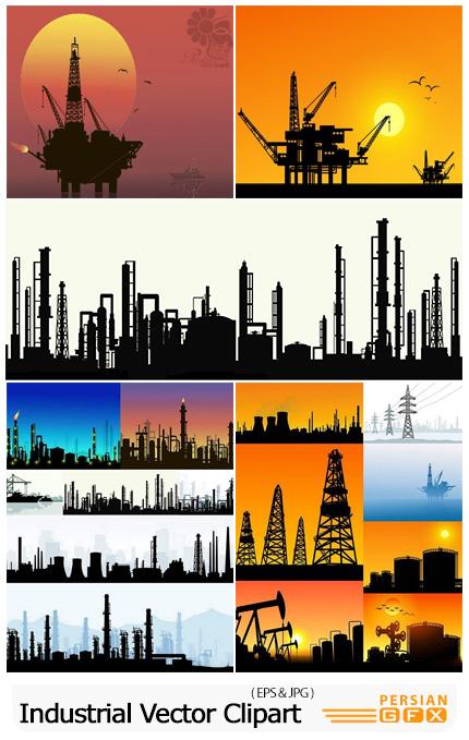 دانلود وکتور سایه مکان های صنعتی شامل نیروگاه، دکل های نفت، دکل های برق و ... - Industrial Vector Clipart