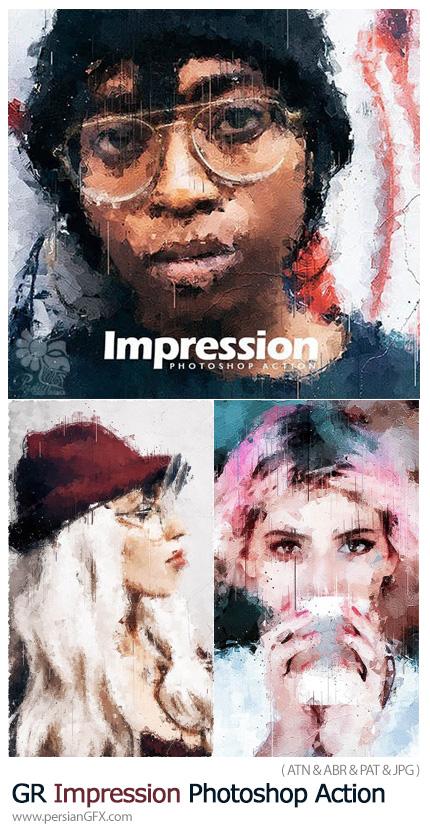 دانلود اکشن فتوشاپ تبدیل تصاویر به نقاشی به سبک امپرسیونیسم به همراه آموزش ویدئویی - GraphicRiver Impression Photoshop Action