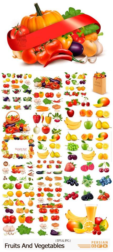 دانلود مجموعه وکتور میوه و سبزیجات مختلف - Fruits And Vegetables