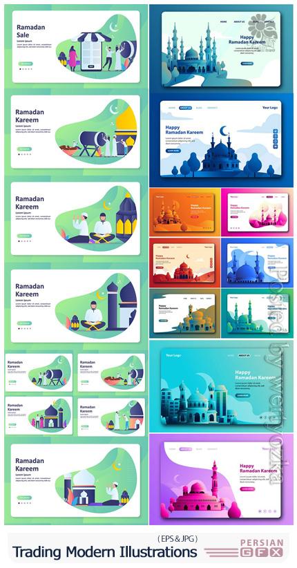 دانلود وکتور بنر و لندینگ پیج ماه مبارک رمضان و عید - Happy Eid Mubarak And Ramadan Kareem Banner And Landing Page Vector Set