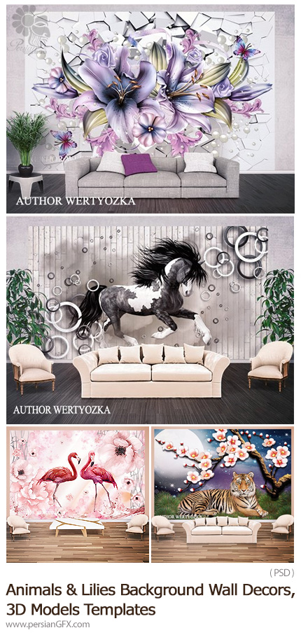 دانلود 4 پوستر سه بعدی پشت تلویزیون از حیوانات و گل - Animals And Lilies Background Wall Decors, 3D Models Templates