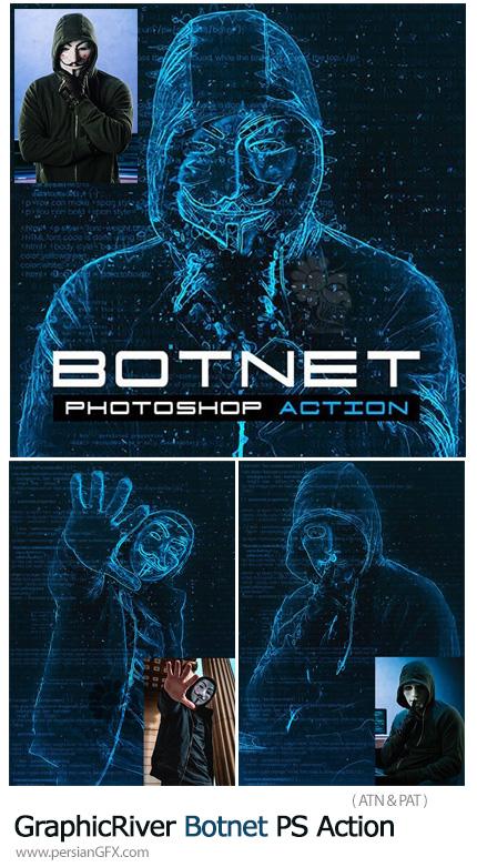 دانلود اکشن فتوشاپ تبدیل تصاویر به طرح سایبری - GraphicRiver Botnet Photoshop Action