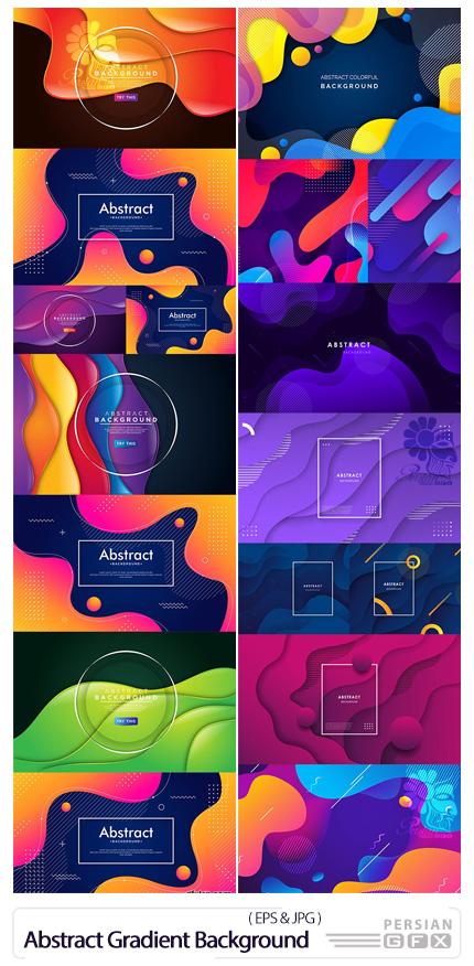 دانلود مجموعه بک گراند انتزاعی با اشکال رنگارنگ - Abstract Gradient Wave Background With Colorful Shapes