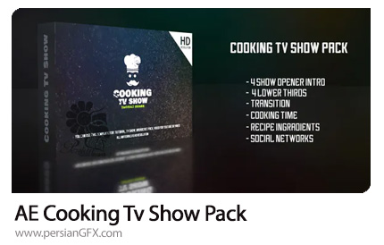 دانلود پک افترافکت نمایش برنامه آشپزی در تلویزیون به همراه آموزش ویدئویی - Cooking Tv Show Pack