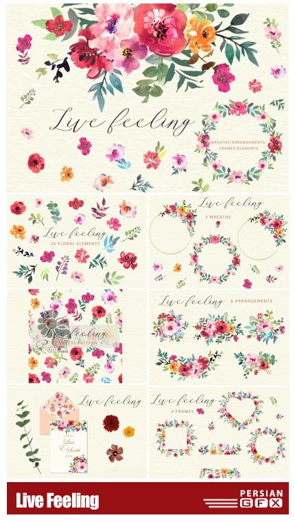 دانلود کلیپ آرت المان های گلدار تزئینی شامل فریم، پترن، حلقه گل و ... - Live Feeling