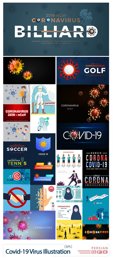 دانلود مجموعه وکتور طرح های گرافیکی با موضوع کرونا - Coronavirus Covid-19 Virus Big Illustration Bundle