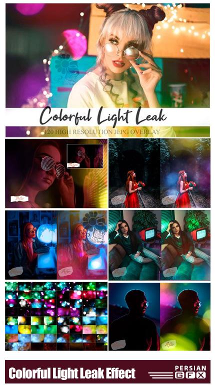 دانلود 120 تصویر پوششی انتشار نور و بوکه های نورانی رنگارنگ - Colorful Light Leak Effect
