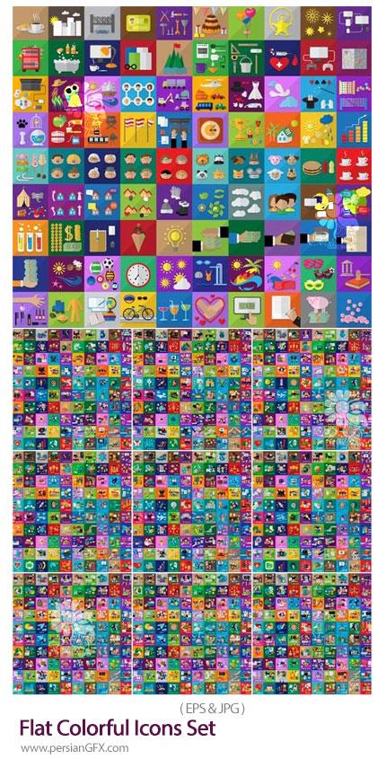 دانلود مجموعه آیکون های فلت رنگارنگ با موضوعات مختلف - Flat Colorful Icons Set