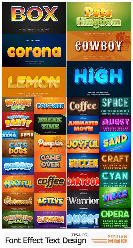 دانلود مجموعه قالب وکتور افکت های متن با طرح های متنوع - Font Effect Text Design