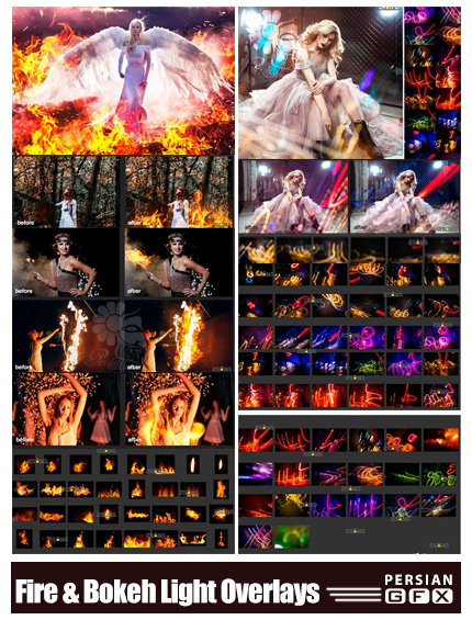 دانلود تصاویر پوششی بوکه های نورانی و شعله آتش - Fire And Bokeh Light Overlays
