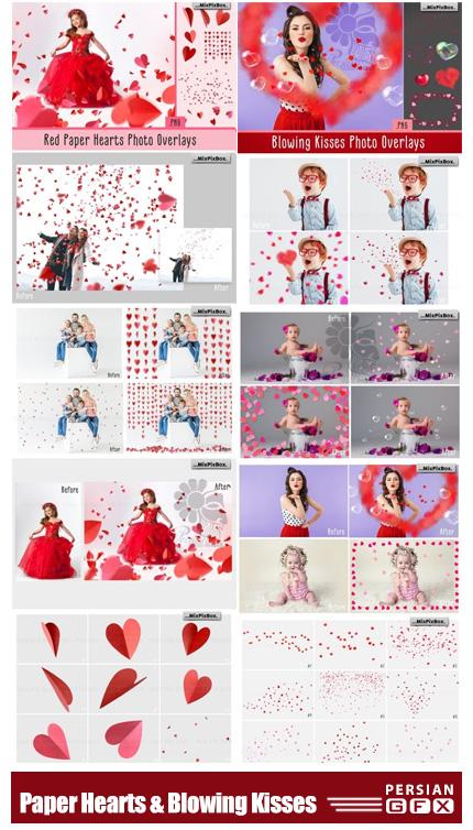 دانلود تصاویر پوششی قلب کاغذی و حباب قلب پراکنده - Paper Hearts And Blowing Kisses