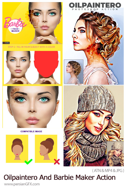دانلود 2 اکشن فتوشاپ ساخت تصاویر باربی و نقاشی رنگ روغن - Oilpaintero And Barbie Maker Action