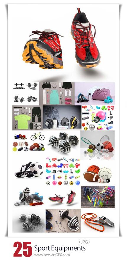دانلود 25 عکس با کیفیت تجهیزات ورزشی شامل ست ورزشی، توپ، دمبل، کفش و ... - Sport Equipments