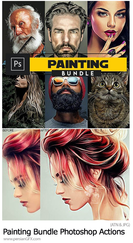 دانلود مجموعه اکشن فتوشاپ با 6 افکت نقاشی متنوع - Painting Bundle Photoshop Actions