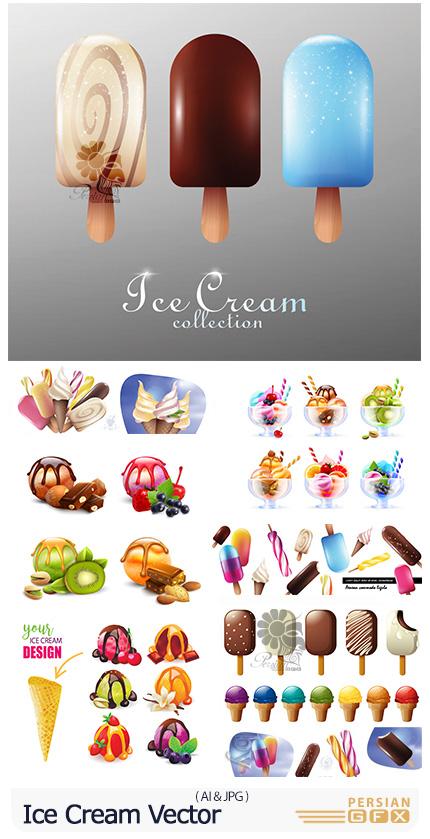دانلود وکتور کارتونی بستنی قیفی، چوبی و اسکوپی با طعم های میوه ای و شکلاتی - Ice Cream Vector