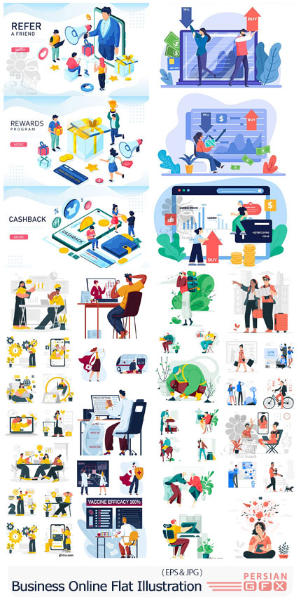دانلود مجموعه طرح های فلت تجارت آنلاین، خرید و فروش، امور پزشکی و موقعیت های شغلی مختلف - Business Online Flat Illustration