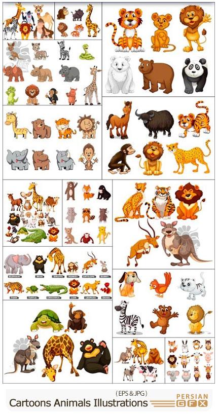 دانلود مجموعه وکتور حیوانات کارتونی متنوع شامل فیل، زرافه، گربه و ... - Cartoons Animals Illustrations