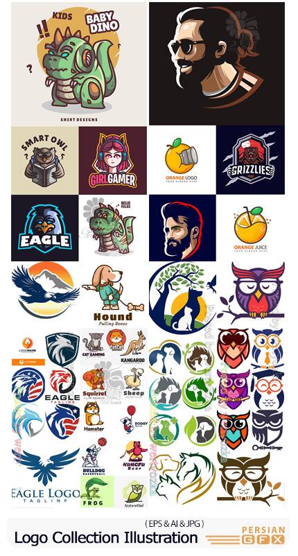دانلود مجموعه آرم و لوگوی کاراکترهای کارتونی و حیوانات - Logo Collection Illustration