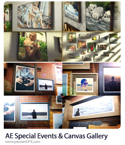 دانلود 2 پروژه افترافکت گالری عکس با قاب چوبی و بوم - Special Events And Canvas Wrap Photo Gallery