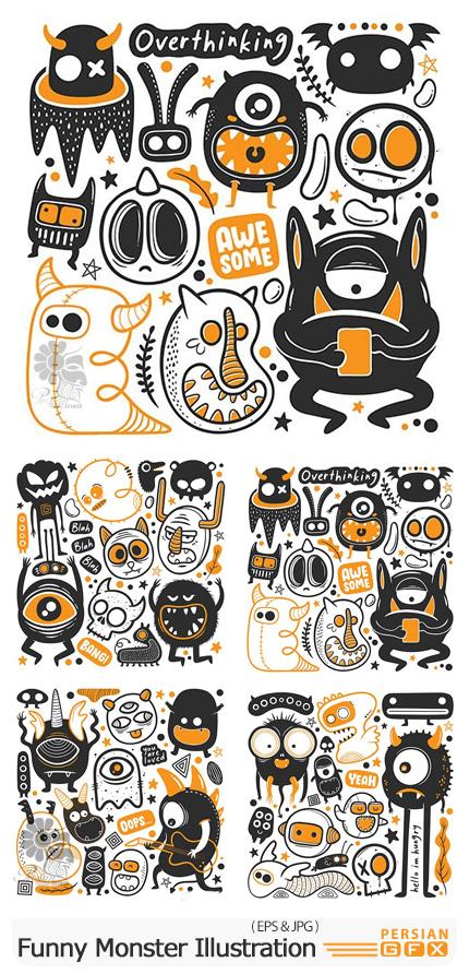 دانلود وکتور طرح های کارتونی و بامزه هیولا - Funny Monster Illustration