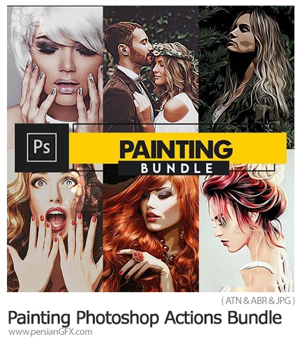 دانلود مجموعه اکشن فتوشاپ با 6 افکت نقاشی متنوع - Painting Photoshop Actions Bundle