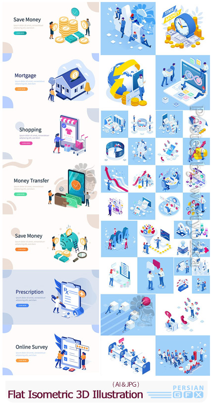 دانلود مجموعه وکتور نمودارهای ایزومتریک سه بعدی - Flat Isometric 3D Concept Illustration
