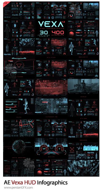 دانلود پروژه افترافکت نمودارهای اینفوگرافیکی HUD به همراه آموزش ویدئویی - Vexa HUD Infographics
