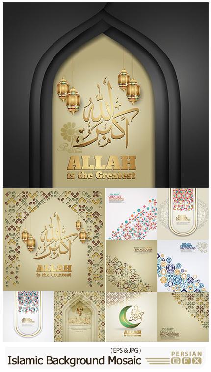 دانلود مجموعه بک گراند اسلامی با موزاییک های رنگی - Islamic Background With Colourful Mosaic