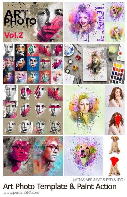 دانلود اکشن فتوشاپ و قالب لایه باز ساخت نقاشی فانتزی و پرتره هنری - Art Photo Template And Paint Action