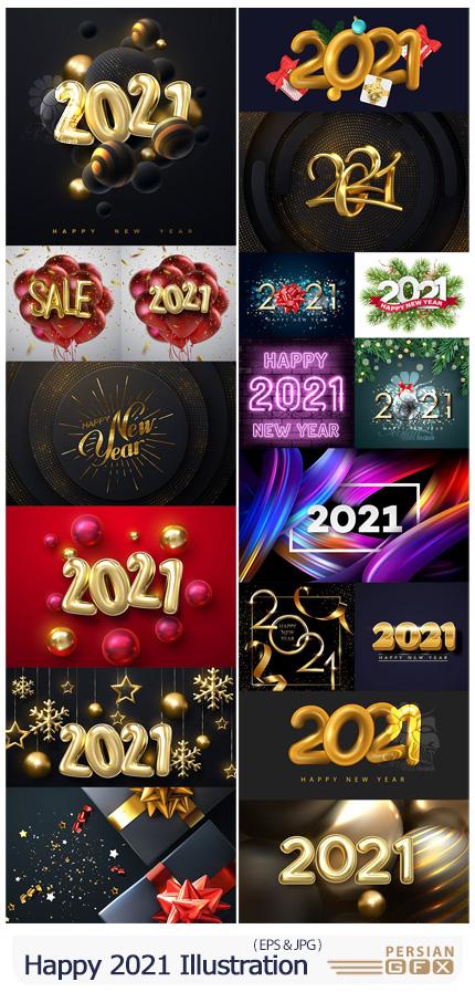 دانلود مجموعه وکتور طرح های تزئینی سال نو 2021 - Happy New Year 2021 Decorative Illustration