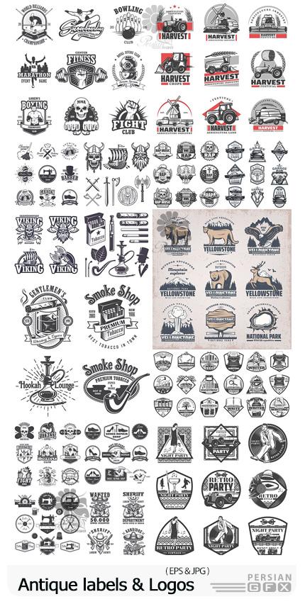 دانلود وکتور لیبل و آرم های آنتیک متنوع - Antique labels, Badges And Logos