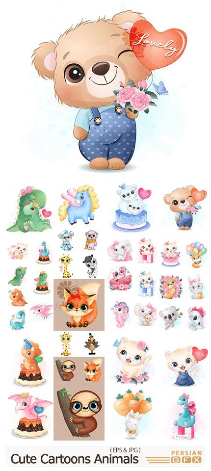 دانلود مجموعه وکتور حیوانات کارتونی کودکانه و بامزه - Cute Cartoons Animals