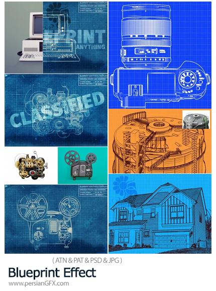 دانلود قالب لایه باز و اکشن فتوشاپ ساخت تصاویر بلوپرینت - Blueprint Effect