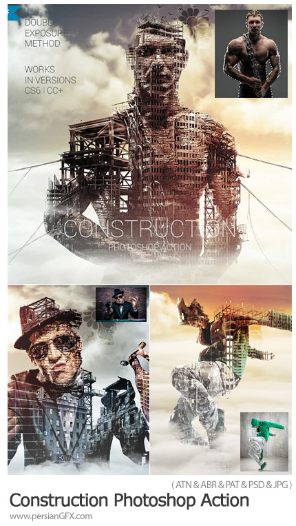 دانلود اکشن فتوشاپ تبدیل تصاویر به طرح ساختمان در حال ساخت به همراه آموزش ویدئویی - Construction Photoshop Action