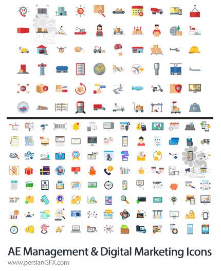 دانلود 200 آیکون متحرک باربری، مدیریت، دیجیتال مارکتینگ و تجارت الکترونیک در افترافکت به همراه آموزش ویدئویی - 200 Management And Digital Marketing Icons