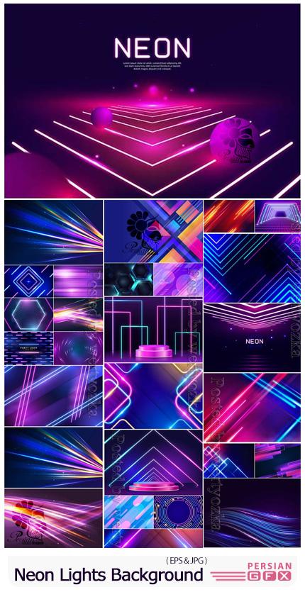 دانلود مجموعه بک گراند نورهای نئونی انتزاعی - Abstract Neon Lights Background