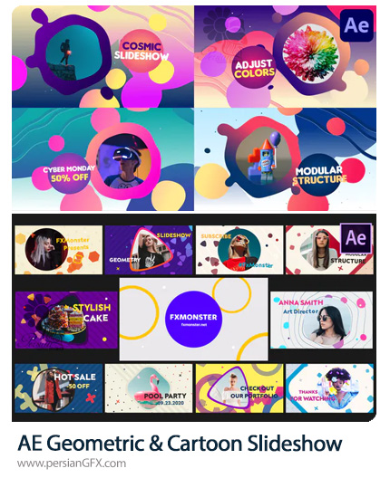 دانلود 2 پروژه افترافکت اسلایدشو تصاویر با افکت ژئومتریک و کارتونی - Geometric And Cartoon Slideshow