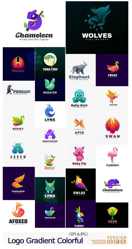 دانلود وکتور آرم و لوگوی حیوانات با گرادینت رنگارنگ - Logo Gradient Colorful Style
