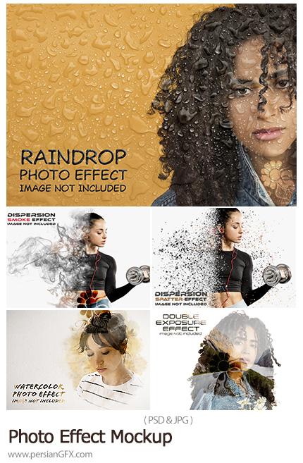 دانلود 5 افکت لایه باز دابل اکسپوژر، پراکندگی ذرات، قطرت باران، دود و آبرنگی برای تصاویر - Photo Effect Mockup