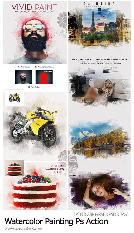 دانلود اکشن فتوشاپ و افکت لایه باز تبدیل تصاویر به نقاشی آبرنگی - Watercolor Painting Photoshop Action